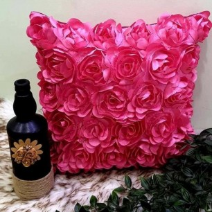 Pink Rose 5 Pieces velvet Cushion Covers Set.