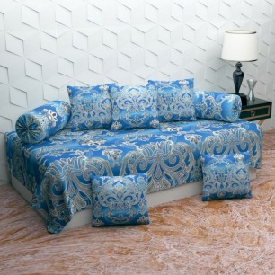 Glace Cotton Imported Heavy 8 Pieces Diwan Set.