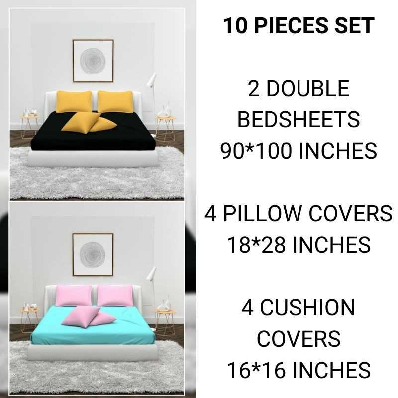 Super Soft Cotton Bedsheet, Pillow And Cushion Cover Set.