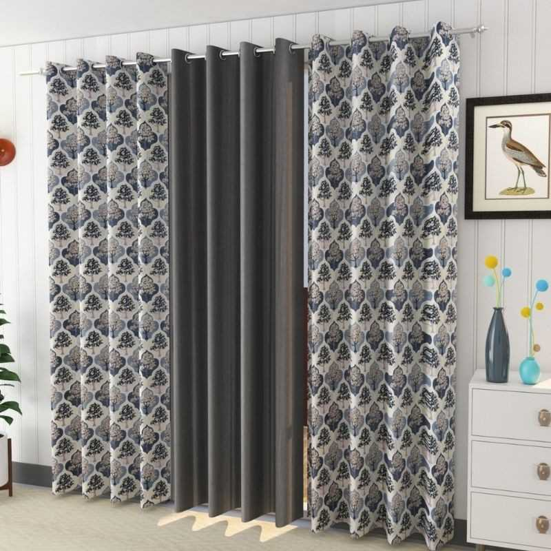 Polyster Window And Door 200 GSM Curtains (Pack of 3).