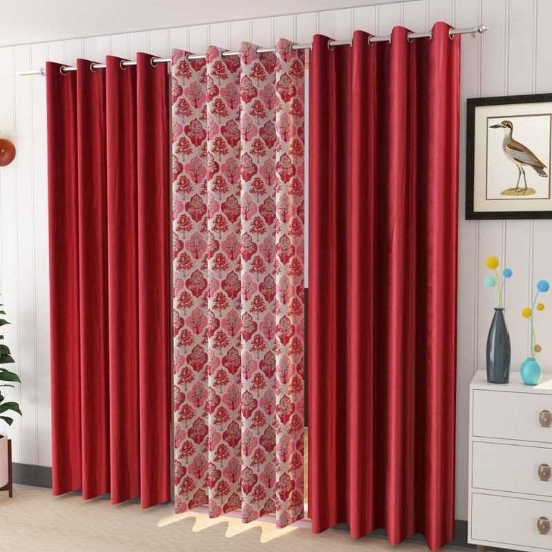 Pack of 3 Window And Door Curtains Polyster Material.