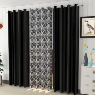 Attractive Window And Door Curtains Pack of 3 Polyster.
