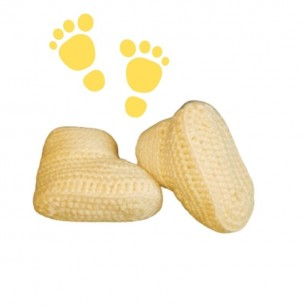 Handmade Baby Yarn Booties For 0 To 12 Months.