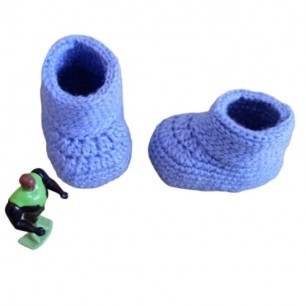 Handmade Baby Blue Yarn Booties For 0 To 12 Months.