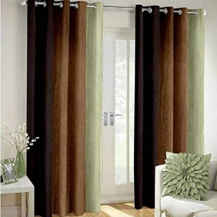 Brown Polyester Crush Patta Eyelets Curtain for Windows and Door.