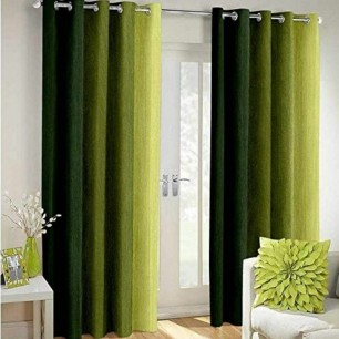Green Polyester Crush Patta Eyelets Curtain for Windows and Door.
