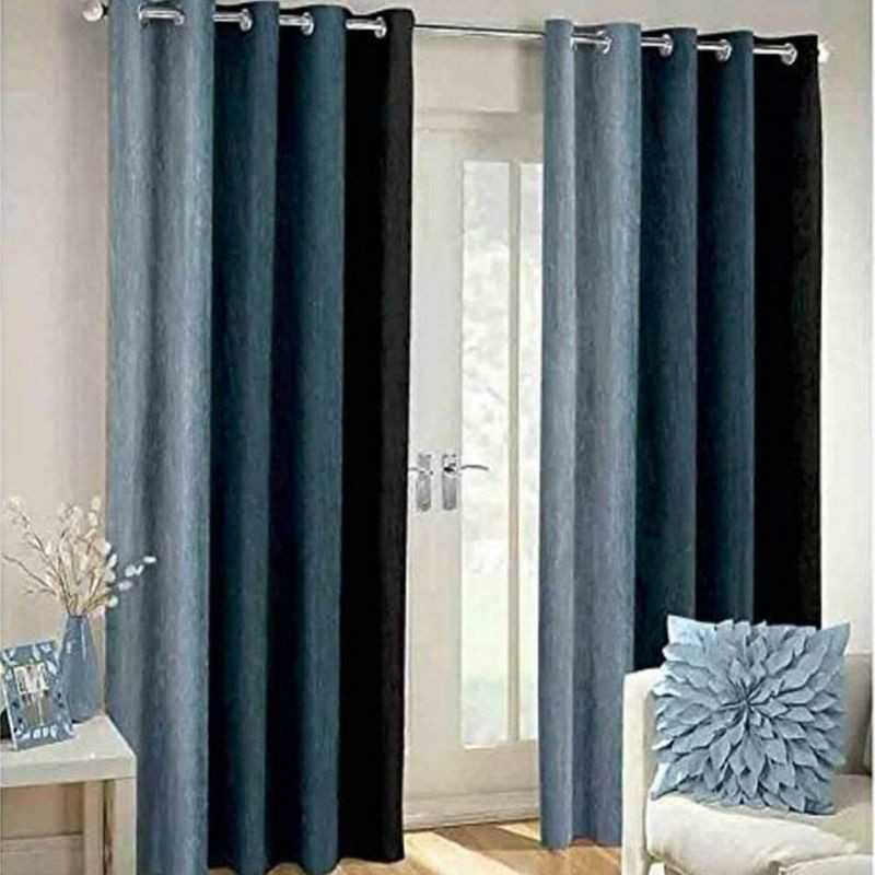 Grey Polyester Crush Patta Eyelets Curtain for Windows and Door.
