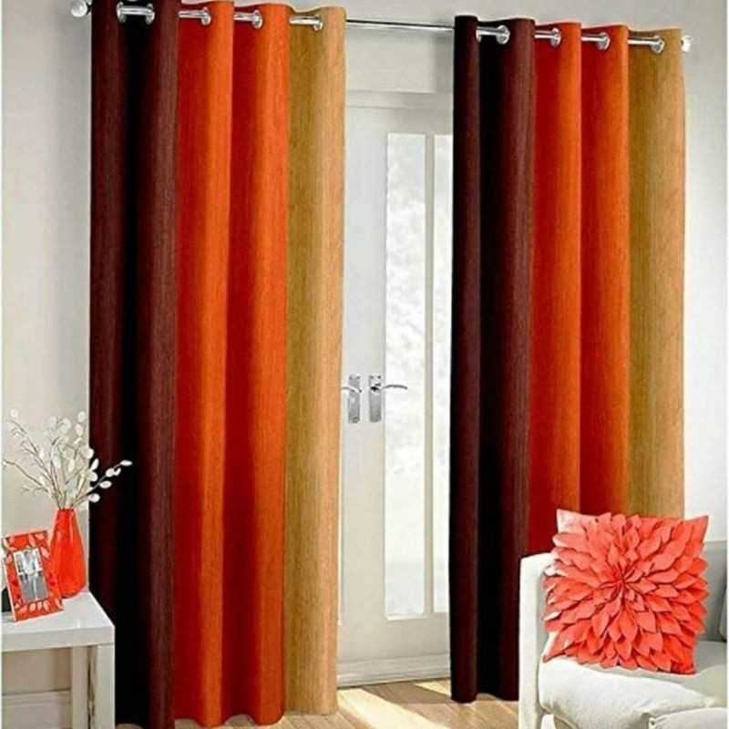 Orange Polyester Crush Patta Eyelets Curtain for Windows and Door.