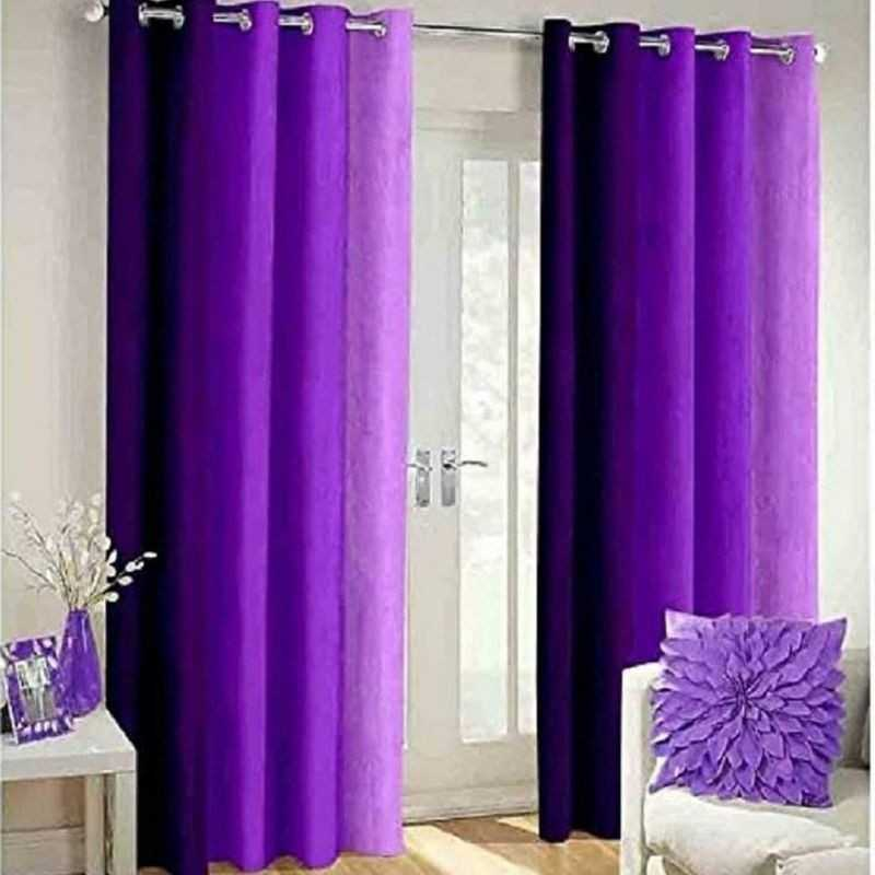 Purple Polyester Crush Patta Eyelets Curtain for Windows and Door.