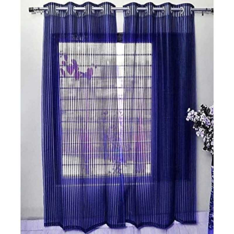 Blue Tissue Net Eyelets Curtain for Windows and Door.
