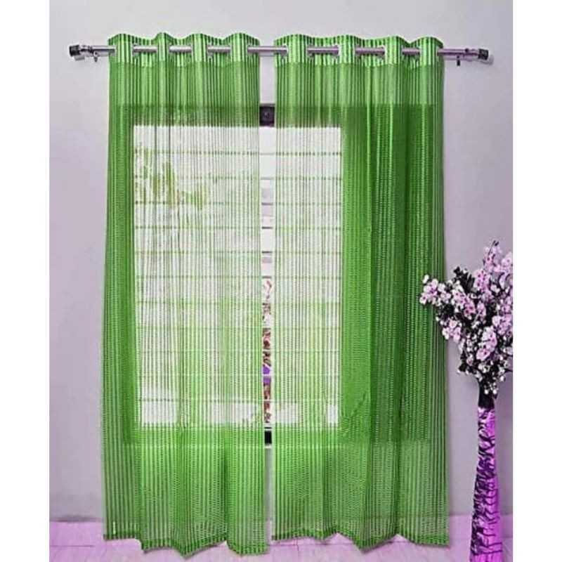 Green Tissue Net Eyelets Curtain for Windows and Door.