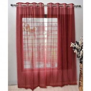 Red Tissue Net Eyelets Curtain for Windows and Door.