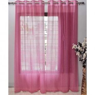 Pink Tissue Net Eyelets Curtain for Windows and Door.