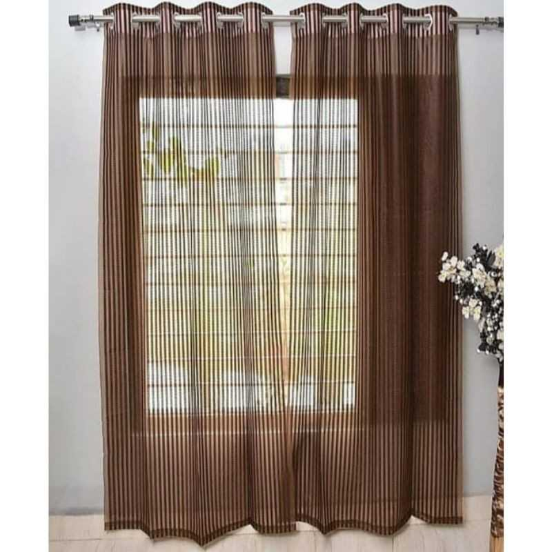 Brown Tissue Net Eyelets Curtain for Windows and Door.