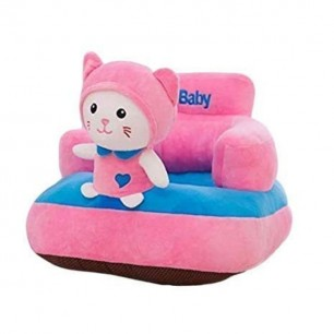 Pink Cat Shaped Soft Plush Cushion Supporting Seat for Babies.