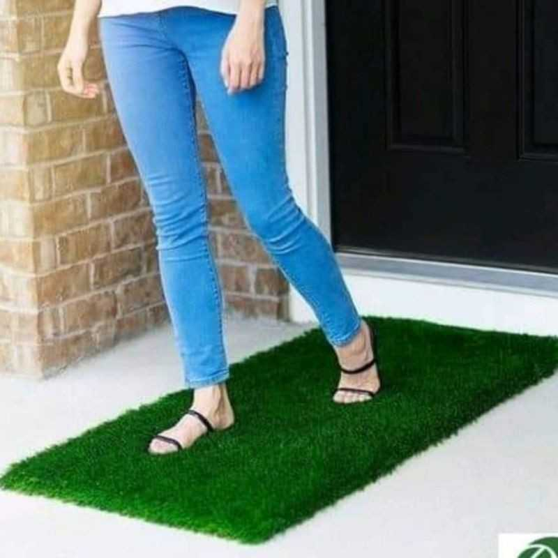 Artificial Grass Mat For Living And Bedroom 16*24 Inches Green Color.