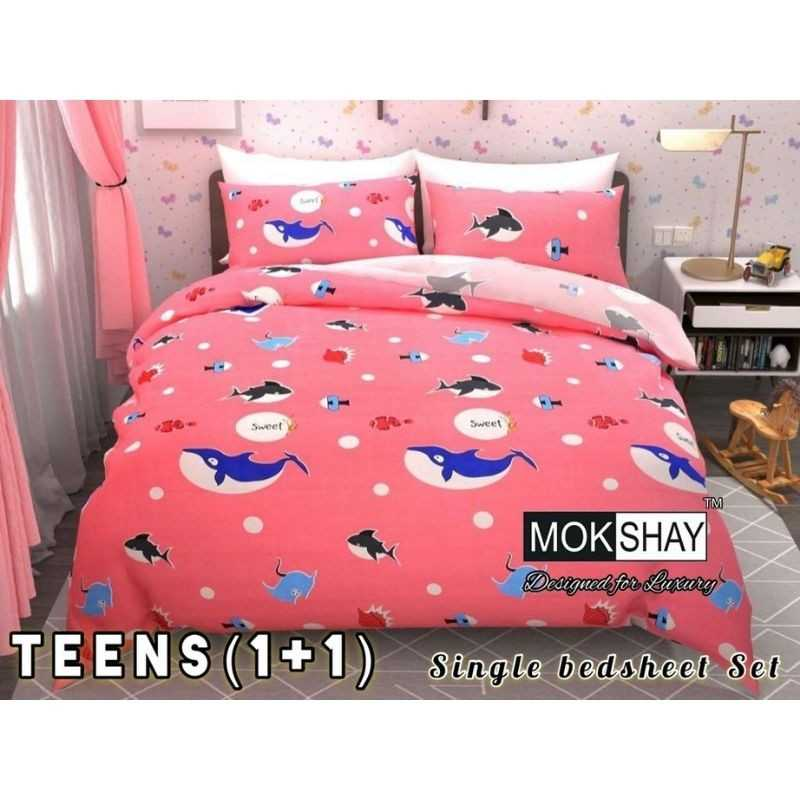 Teens Single bedsheet Set With Attractive Packing Heavy Glace Cotton.