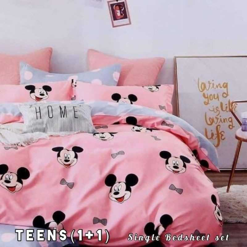 Pure Glace Cotton Single bedsheet Set For Teens.