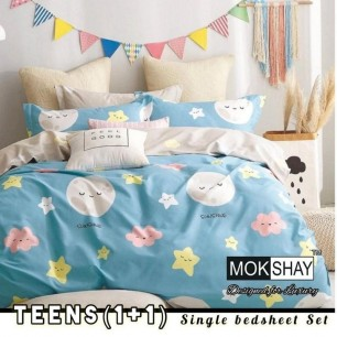 Single Kids bedsheet Set For Teens Heavy Glace Cotton.
