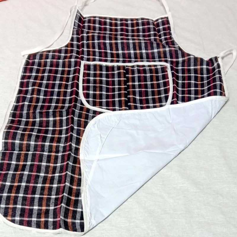 Set of 3 waterproof Aprons with Front Pocket Multi, Assorted Checks.