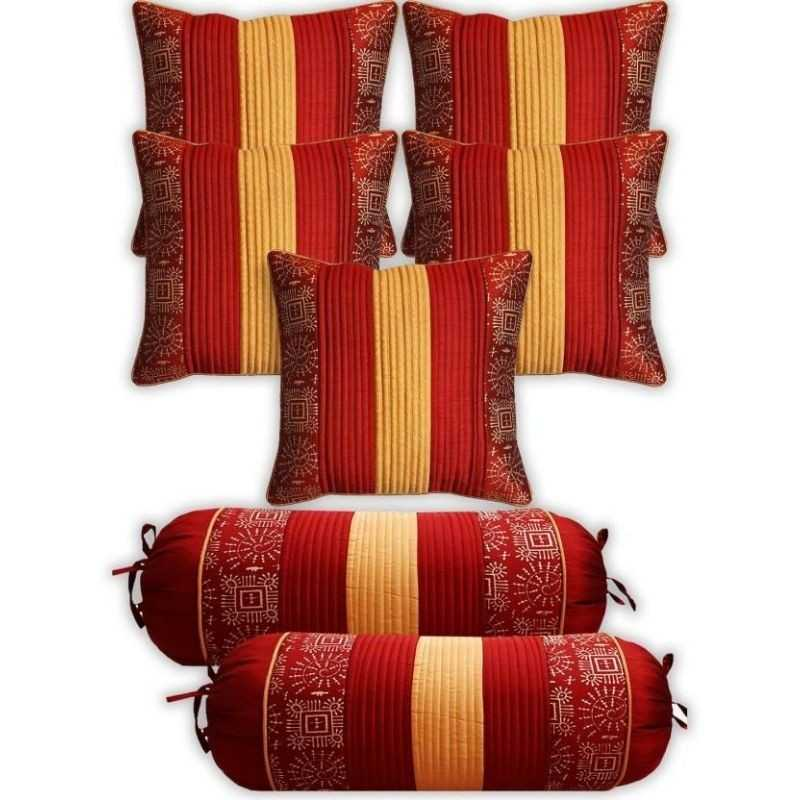 Stuff n Fluff Striped Red Cushions & Bolsters Cover  (Pack of 7, 40 cm*75 cm,)