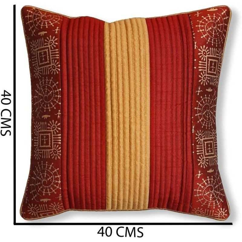 Stuff N' Fluff Striped Red Cushions & Bolsters Cover  (Pack of 7, 40 cm*75 cm,)