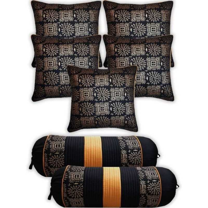 Striped Black Cushions & Bolsters Cover  (Pack of 7, 40 cm*75 cm,)