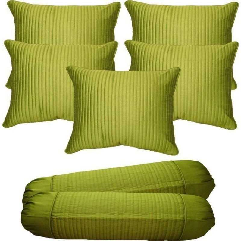 Stuff N' Fluff Striped Cushions & Bolsters Cover  (Pack of 7, 40*40, Green)