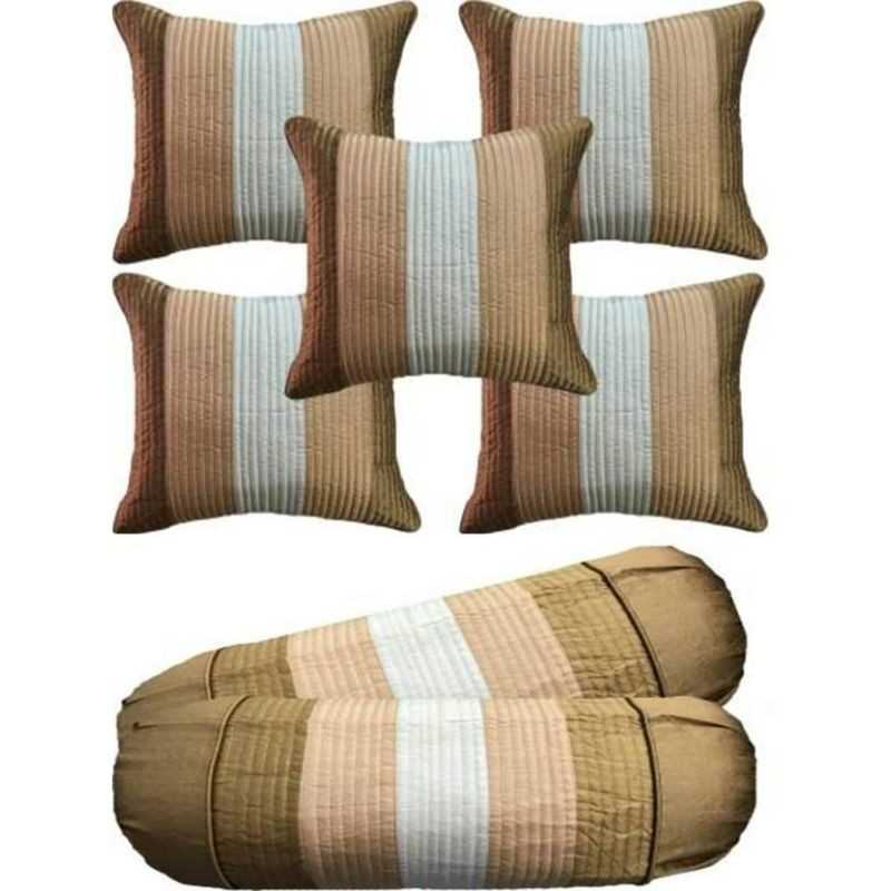 Stuff N' Fluff Striped Cushions & Bolsters Cover  (Pack of 7, 40 cm*77.5 cm, Gold, Beige, White)