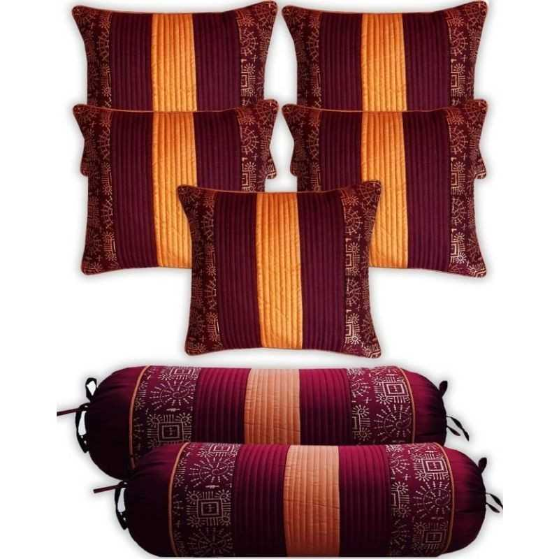 Stuff N' Fluff Striped Cushions & Bolsters Cover  (Pack of 7, 40 cm*75 cm, Maroon)