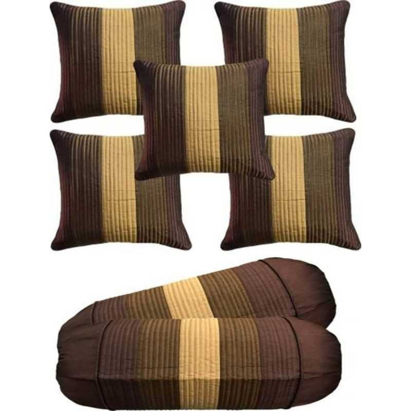 Stuff N' Fluff Striped Cushions & Bolsters Cover  (Pack of 7, 40 cm*77.5 cm, Brown, Gold, Beige)