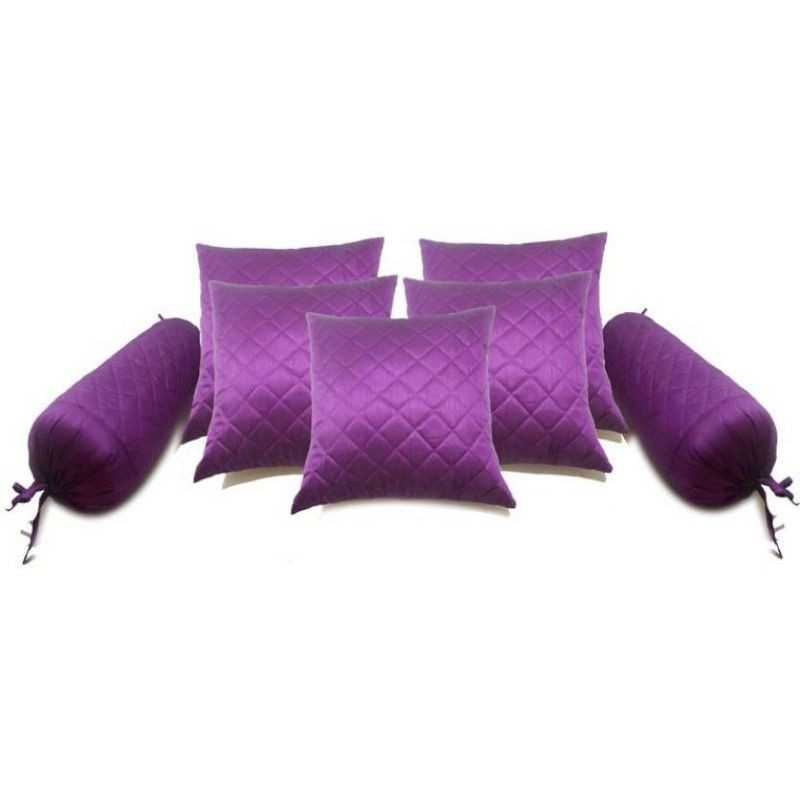 Stuff N' Fluff Checkered Cushions & Bolsters Cover  (Pack of 7, 40 cm*75 cm, Purple)