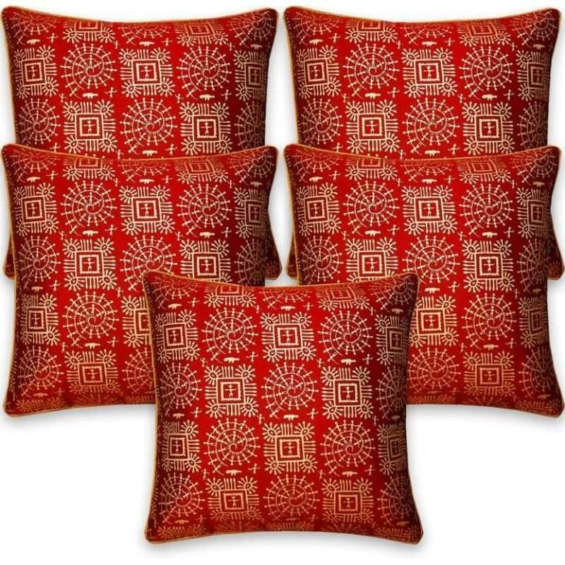 Stuff N' Fluff Printed Cushions & Bolsters Cover  (Pack of 7, 40 cm*75 cm, Red)