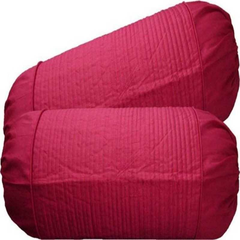 Stuff N' Fluff Striped Cushions & Bolsters Cover  (Pack of 7, 40*40, Pink)