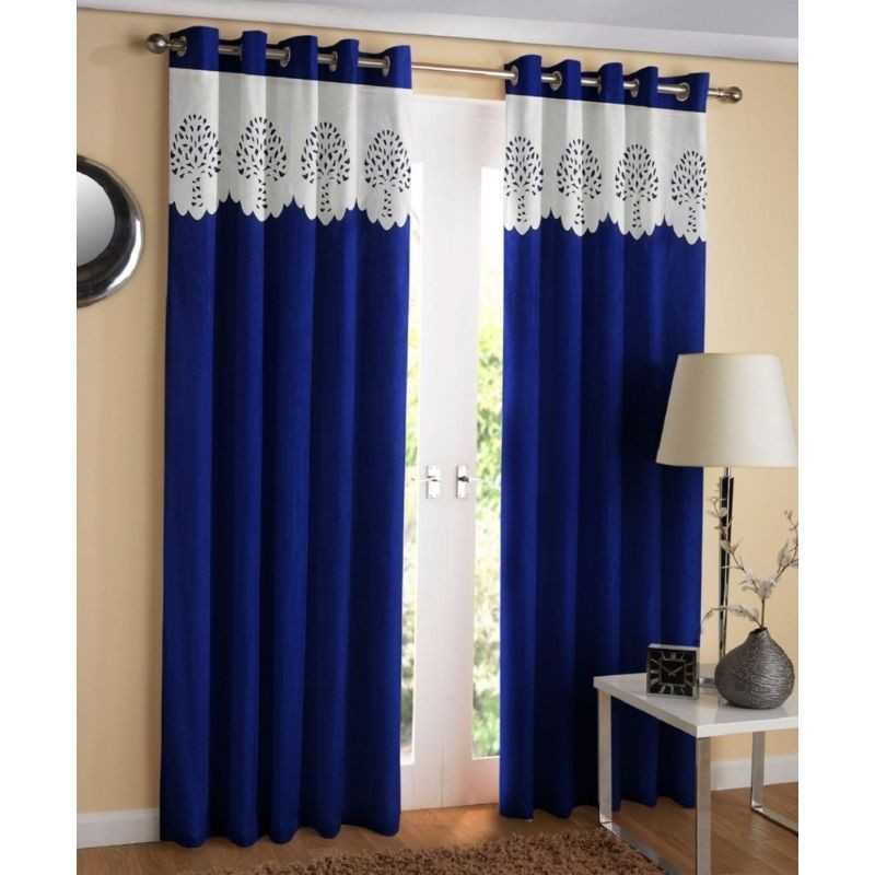 Polyester window or door blue curtain for home.